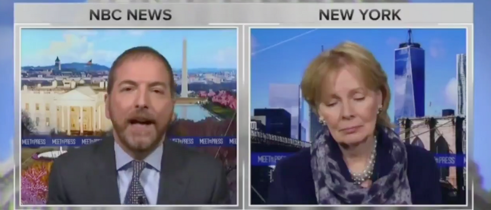 "NBC News' Chuck Todd aired a deceptively edited clip of Bill Barr Sunday on ""Meet the Press."" (Screenshot Twitter Greg Price)"