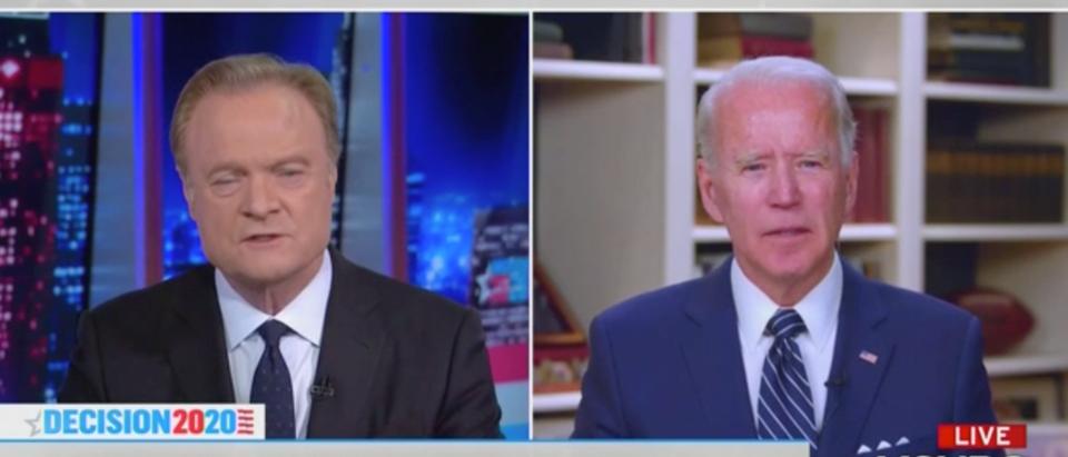 Former Vice President Joe Biden spoke to MSNBC's Lawrence O'Donnell Thursday evening. (Screenshot MSNBC, The Last Word With Lawrence O'Donnell)