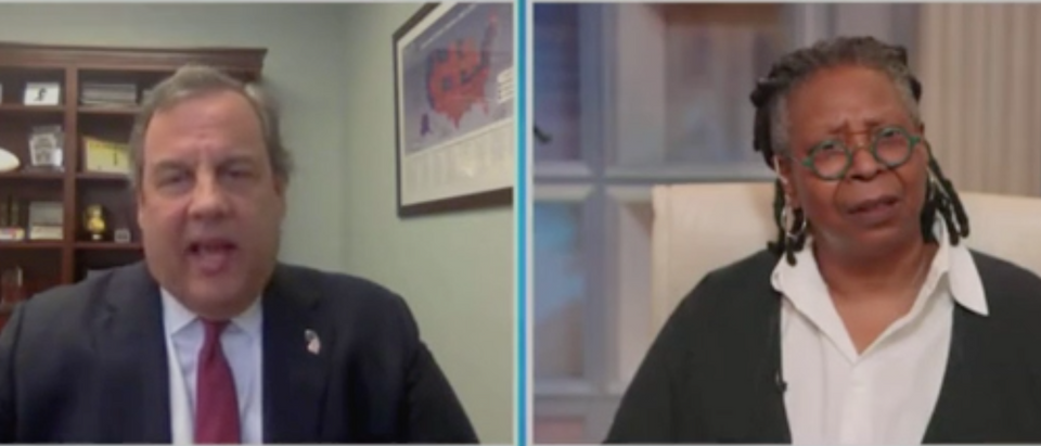 "Chris Christie joins Whoopi Goldberg on ""The View."" Screenshot/ABC"