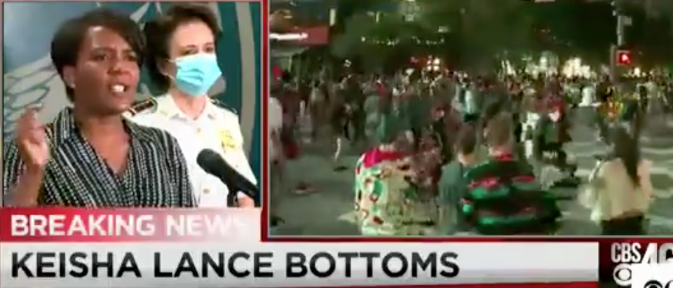 Mayor Kiesha Lance Bottoms addresses protests in Atlanta.Screenshot/CBS