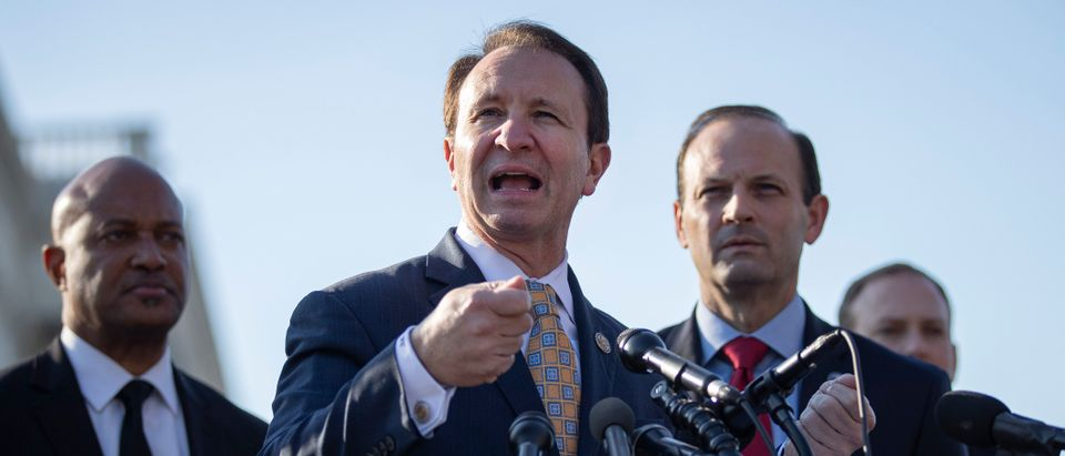 WASHINGTON, DC - JANUARY 22: (L-R) Indiana Attorney General Curtis Hill, Louisiana Attorney General Jeff Landry and South Carolina Attorney General Alan Wilson speak during a press conference to discuss the impeachment trial at the U.S. Capitol on January 22, 2020 in Washington, DC. They announced a letter written to the U.S. Senate in which 21 Republican state Attorneys General outline what they believe to be the legal flaws in the impeachment case against U.S. President Donald Trump. (Photo by Drew Angerer/Getty Images)