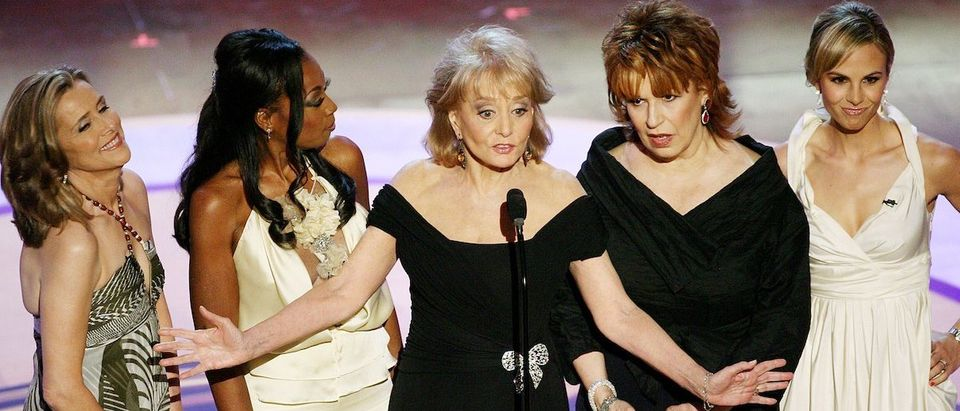 """HOLLYWOOD , CA - APRIL 28: (L-R) Television personalities Meredith Vieira, Star Jones, Barbara Walters, Joy Behar and Elisabeth Hasselbeck of """"The View"""" speak onstage during the 33rd Annual Daytime Emmy Awards held at the Kodak Theatre on April 28, 2006 in Hollywood, California. (Photo by Kevin Winter/Getty Images)"""