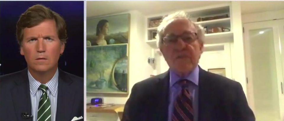 Tucker Carlson and Alan Dershowitz discuss mandatory vaccination (Fox News screengrab)