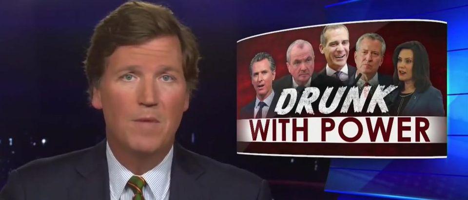 Tucker Carlson blasts lockdown leaders 'drunk with power' (Fox News screengrab)