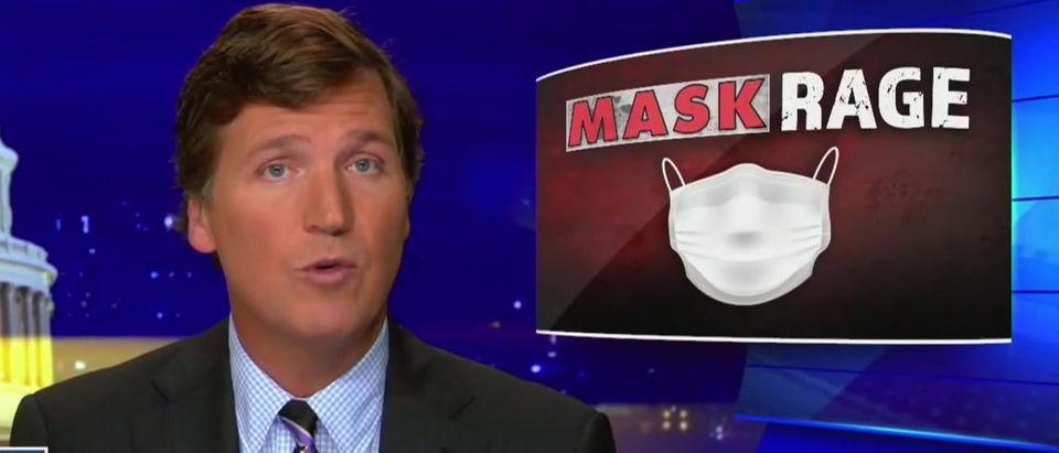Tucker Carlson blasts 'mask rage' (Fox News screengrab)
