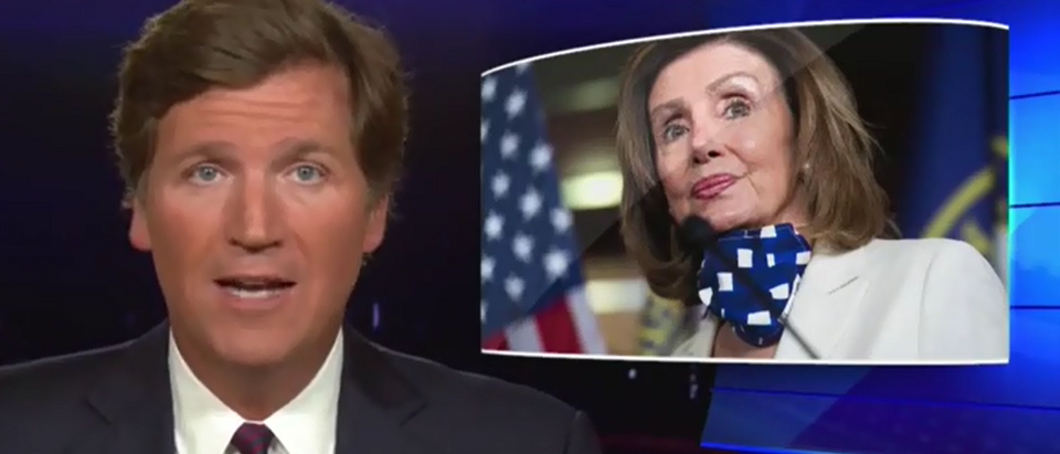 Tucker Carlson chides Nancy Pelosi for weight-shaming Trump (Fox News screengrab)