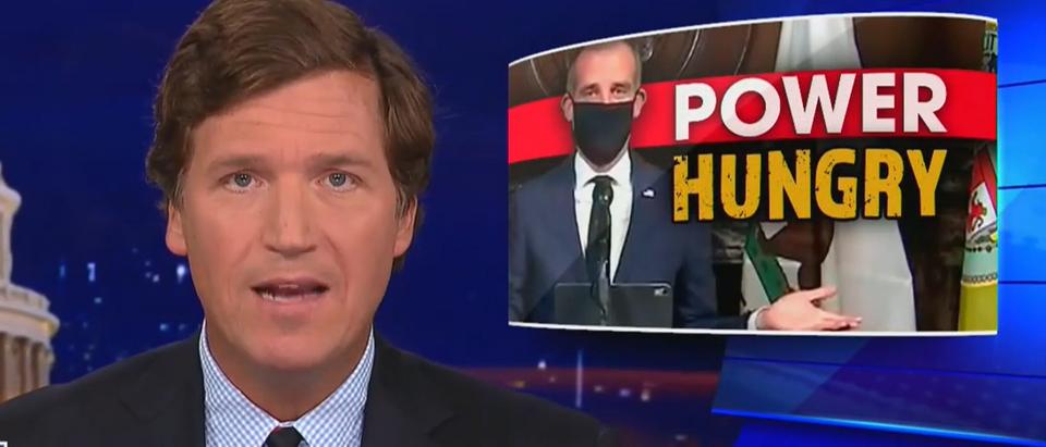 Tucker Carlson criticizes mask logic behind Los Angeles order (Fox News screengrab)