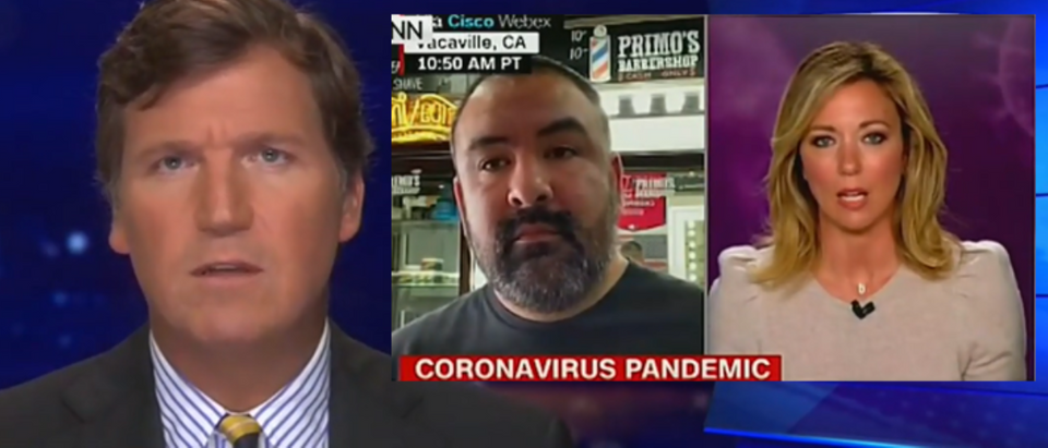Tucker Carlson rips Brooke Baldwin for scolding barbershop owner (Fox News screengrab)
