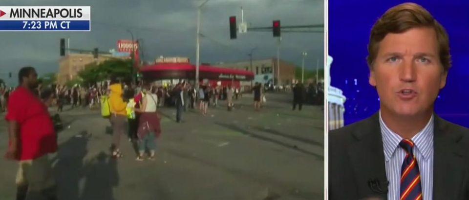 Tucker Carlson rips rioters, media enablers (Fox News screengrab)