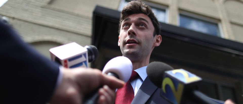 MARIETTA, GA - APRIL 17: Democratic candidate Jon Ossoff speaks to the media during a visit to a campaign office as he runs for Georgia's 6th Congressional District in a special election to replace Tom Price, who is now the secretary of Health and Human Services on April 17, 2017 in Marietta, Georgia. (Joe Raedle / Getty Images)