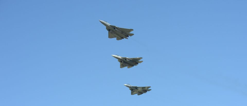 Sukhoi Su-57 fighter jets fly in formation during the visit of Russian President Vladimir Putin to a Defence Ministry's flight test centre in the town of Akhtubinsk in Astrakhan Region, Russia May 14, 2019. Sputnik/Alexei Nikolsky/Kremlin via REUTERS