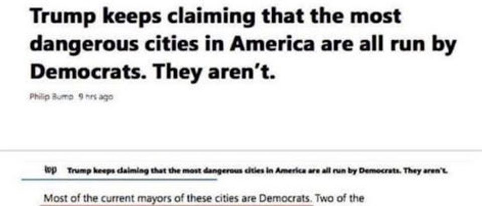 The Washington Post ran a headline claiming the most dangerous cities in America are not run by Democrats. (Screenshot The Washington Post)