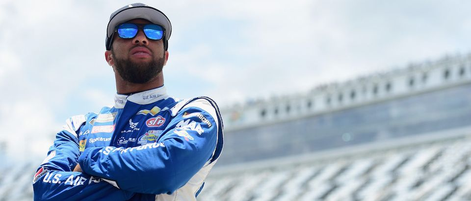 Bubba Wallace, driver of the #43 U.S. Air Force Chevrolet, stands by his car during practice for the Monster Energy NASCAR Cup Series Coke Zero Sugar 400 at Daytona International Speedway on July 5, 2018 in Daytona Beach, Florida. (Photo by Jared C. Tilton/Getty Images)