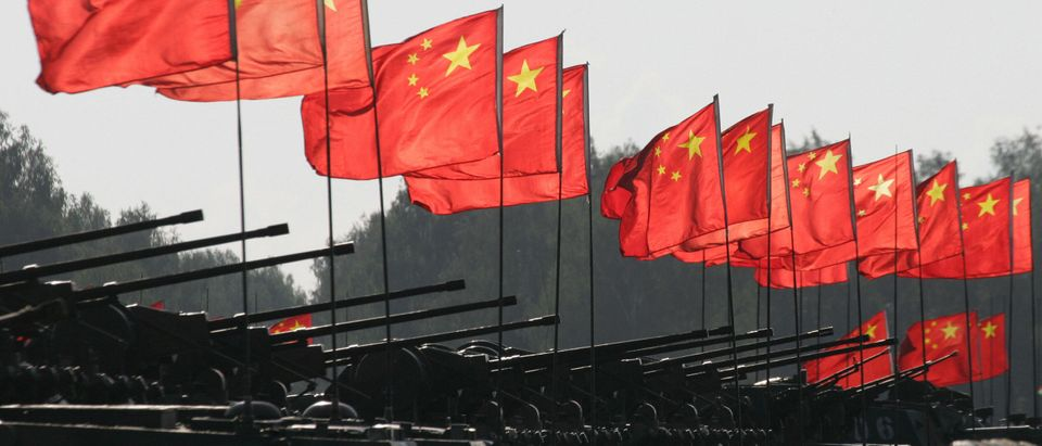 Chinese tanks after a military exercise