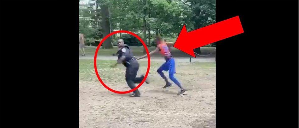 Cop Catch (Credit: Screenshot/Twitter Video https://twitter.com/NFL_Memes/status/1275057174956462080)