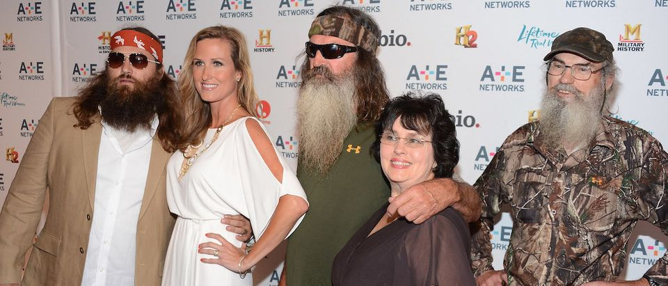 Willie Robertson, Korie Robertson, Phil Robertson, Miss Kay Robertson and Si Robertson of Duck Dynasty attend the A+E Networks 2012 Upfront at Lincoln Center on May 9, 2012 in New York City. (Photo by Dimitrios Kambouris/Getty Images)