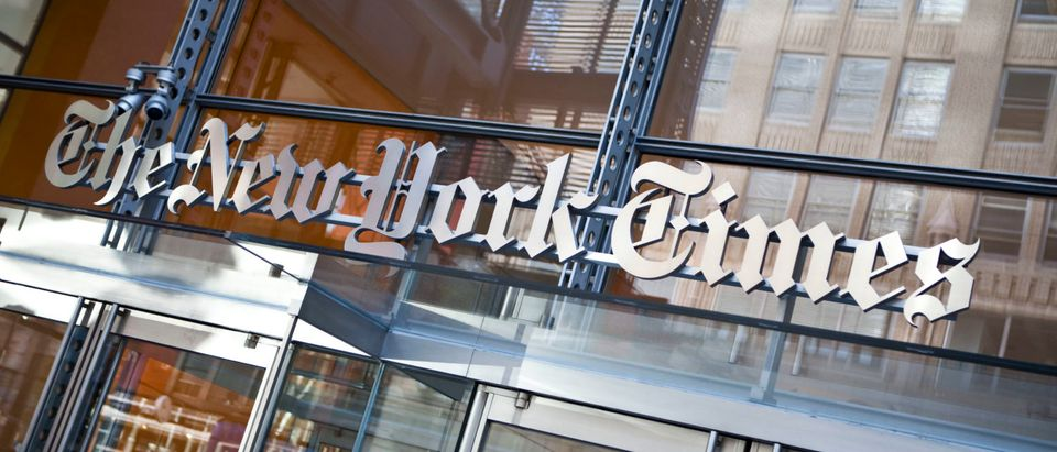 The New York Times logo is seen on the headquarters building on April 21, 2011 in New York City. (Ramin Talaie/Getty Images)