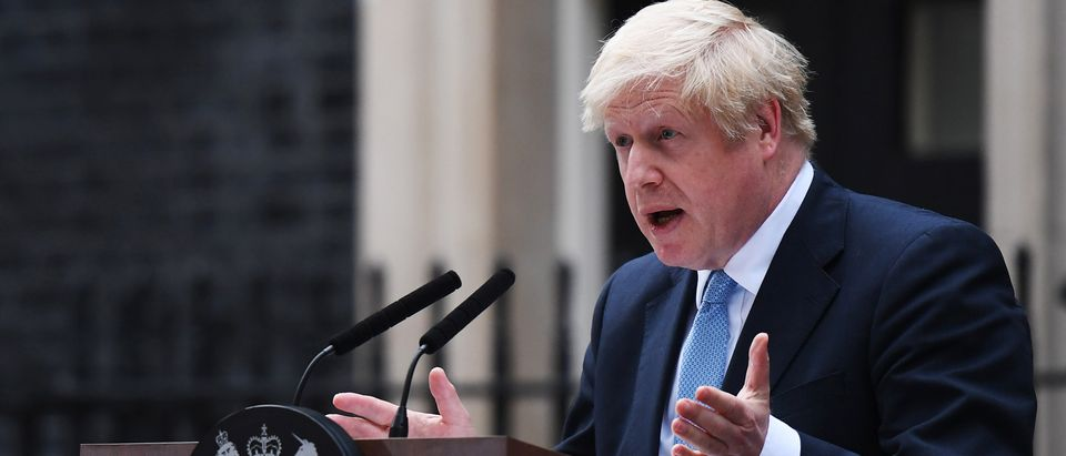 Prime Minister Boris Johnson Delivers Speech Outside 10 Downing Street
