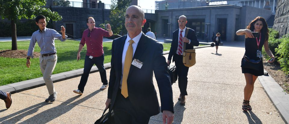 US State Department inspector general Steve Linick leaves after holding a briefing with lawmakers on Capitol Hill in Washington, DC, on October 2, 2019. (Photo by NICHOLAS KAMM/AFP via Getty Images)