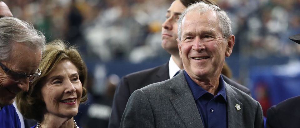 Former President George W. Bush and former First Lady Laura Bush attend the NFL game between the Dallas Cowboys and the Green Bay Packers at AT&T Stadium on October 06, 2019 in Arlington, Texas. (Ronald Martinez/Getty Images)