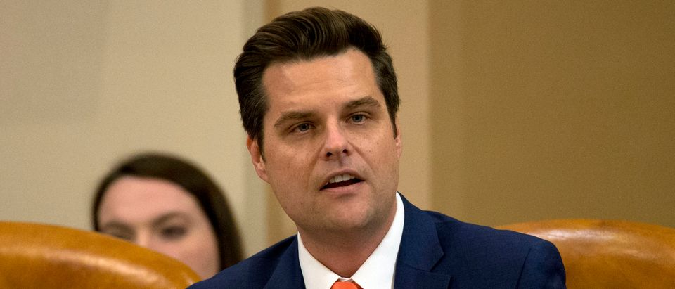 Rep. Matt Gaetz, (R-FL) speaks during a House Judiciary Committee markup of the articles of impeachment against President Donald Trump, on Capitol Hill December 11, 2019 in Washington, DC. The articles of impeachment charge Trump with abuse of power and obstruction of Congress. House Democrats claim that Trump posed a 'clear and present danger' to national security and the 2020 election in his dealings with Ukraine over the past year. (Photo by Jose Luis Magana-Pool/Getty Images)