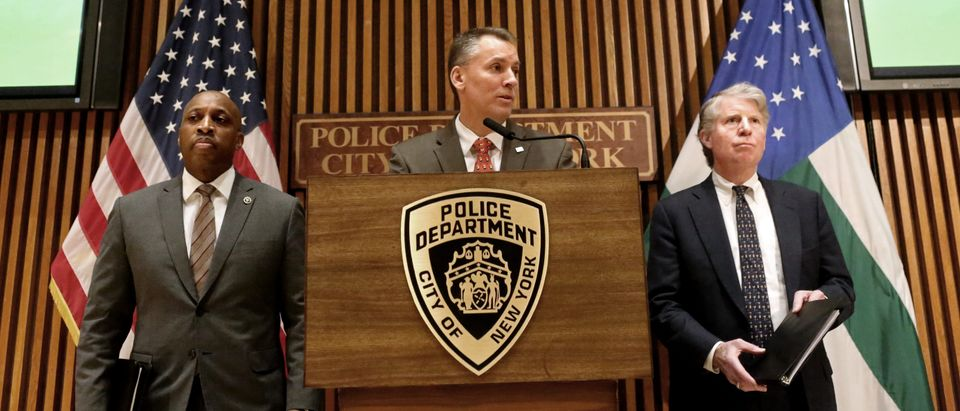 NYPD Chief Dermot Shea And Manhattan District Attorney Cy Vance Hold News Conference