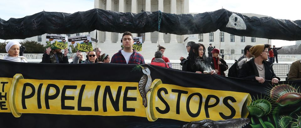 Environmental Activists Protest Against Atlantic Pipeline As Supreme Court Hears Case