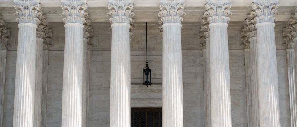 The US Supreme Court is seen following oral arguments in Trump v. Mazars and Trump v. Deutsche Bank AG, dealing with the subpoenas from the US Congress to obtain US President Donald Trumps financial records, which was heard via a teleconference due to COVID-19, known as coronavirus, in Washington, DC, May 12, 2020. (Photo by SAUL LOEB/AFP via Getty Images)