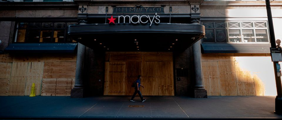 The Macy's store at Manhattan's Herald Square is covered with boards to prevent any damages from potential George Floyd protests on June 1, 2020 in Lower Manhattan in New York City. - Thousands of National Guard troops patrolled major US cities after five consecutive nights of protests over racism and police brutality that boiled over into arson and looting, sending shock waves through the country. The death Monday of an unarmed black man, George Floyd, at the hands of police in Minneapolis ignited this latest wave of outrage in the US over law enforcement's repeated use of lethal force against African Americans -- this one like others before captured on cellphone video. (Photo: Johannes Eisele/AFP via Getty Images)
