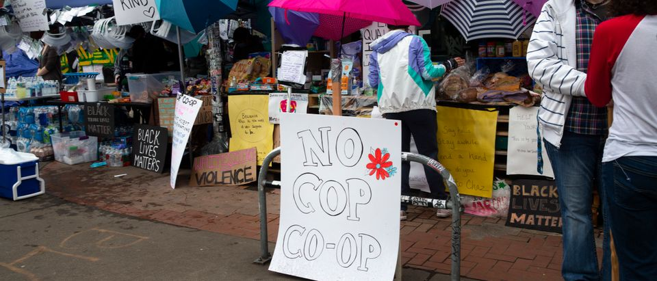 Many stands offering free items have been set up including the No Cop Co-op in an area dubbed the Capitol Hill Autonomous Zone (CHAZ) on June 12, 2020 in Seattle, Washington. (Karen Ducey/Getty Images)