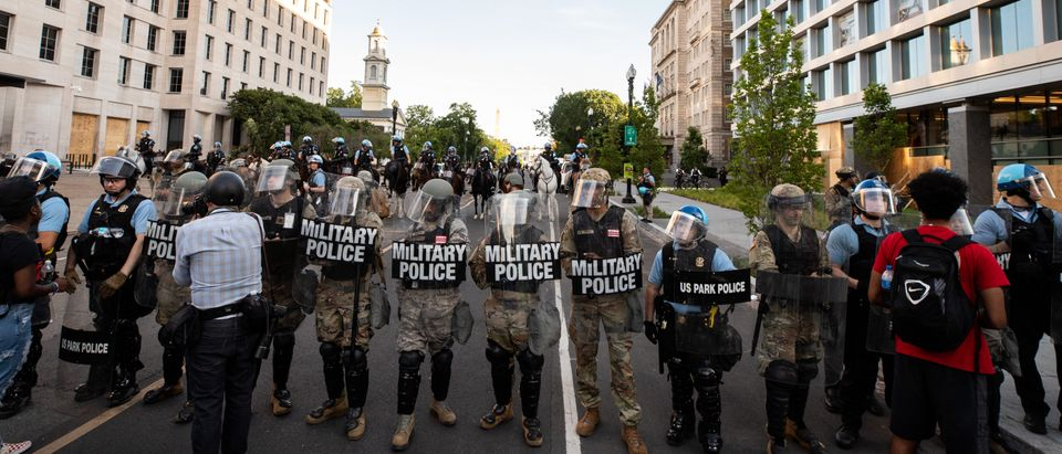U.S. Military and Park Police lines on I St NW, one block from Lafayette Square Park. (Photo: Kaylee C. Greenlee, Daily Caller News Foundation)
