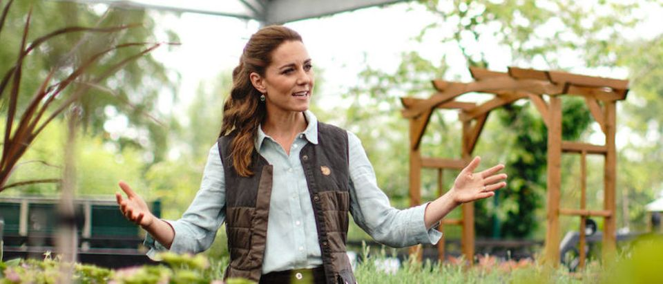Catherine, Duchess of Cambridge talks to Martin and Jennie Turner, owners of the Fakenham Garden Centre in Norfolk, during her first public engagement since lockdown, on June 18, 2020 in Fakenham, United Kingdom. The garden centre is near her Anmer Hall home and, as a keen gardener, the Duchess wanted to hear how the Covid-19 pandemic had affected the family-run independent business, which first opened in 1984. (Photo by Aaron Chown - WPA Pool/Getty Images)