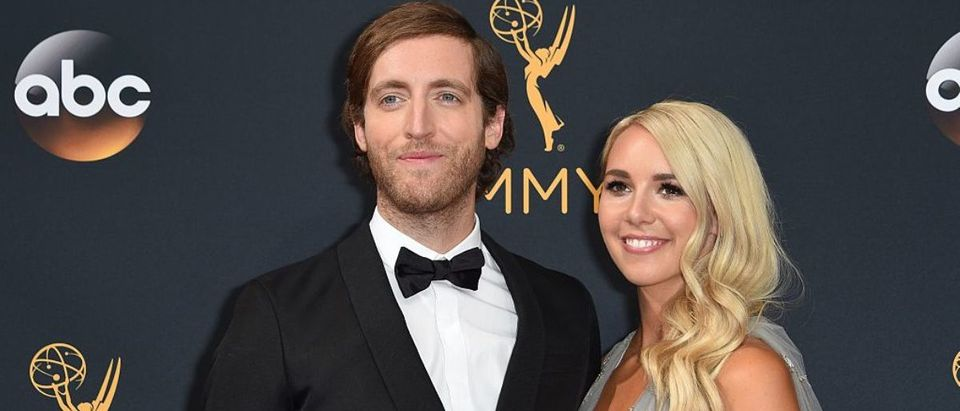 Actor Thomas Middleditch (L) and Mollie Gates arrive for the 68th Emmy Awards on September 18, 2016 at the Microsoft Theatre in Los Angeles. (Photo credit: ROBYN BECK/AFP via Getty Images)