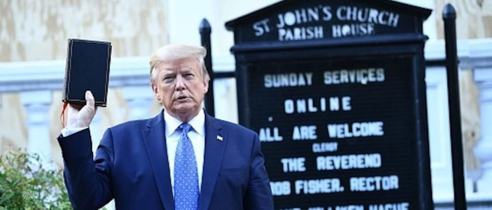 U.S. President Donald Trump in front of St. John's Episcopal Church