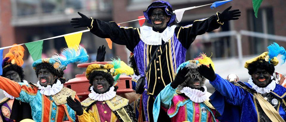 """Traditional parade with Saint Nicholas and """"Zwarte Piet"""" (Black Pete) in Scheveningen"""