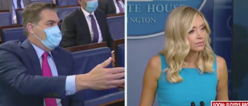 Jim Acosta questions White House press secretary Kayleigh McEnany. Screenshot/Fox News