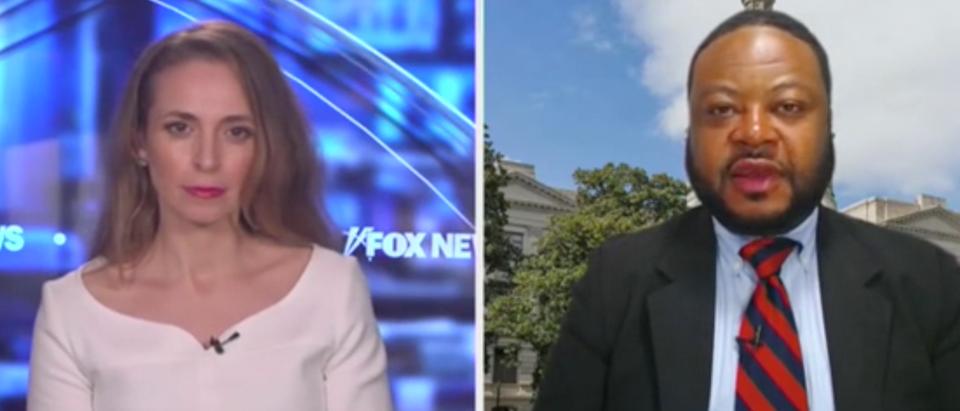 "Jedediah Bila speaks with Robert Patillo on ""Fox and Friends."" Screenshot/Fox News"
