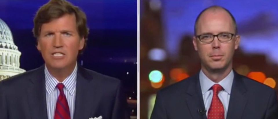 "Tucker Carlson and Sean Davis appear on ""Tucker Carlson Tonight."" Screenshot/Fox News"