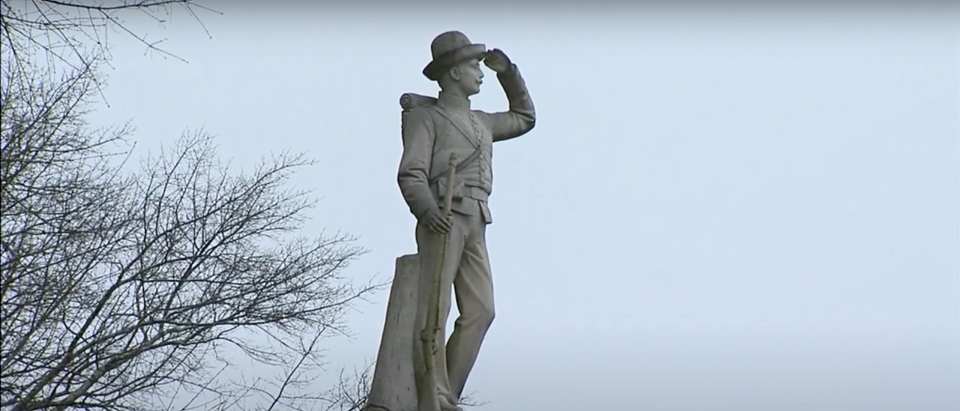 Statue of saluting Confederate soldier at the University of Mississippi