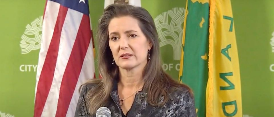 Oakland Mayor Libby Schaaf gives press conference. Screenshot/ABC