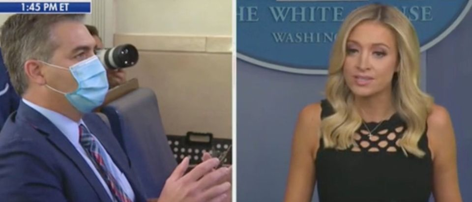 Jim Acosta and Kayleigh McEnany spar during press briefing. Screenshot/Fox News
