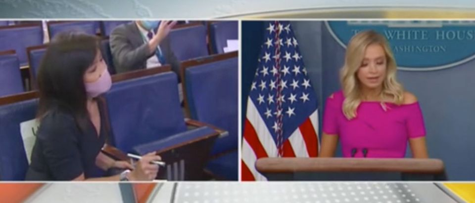 White House press secretary Kayleigh McEnany takes a question from CBS reporter Weijia Jiang.