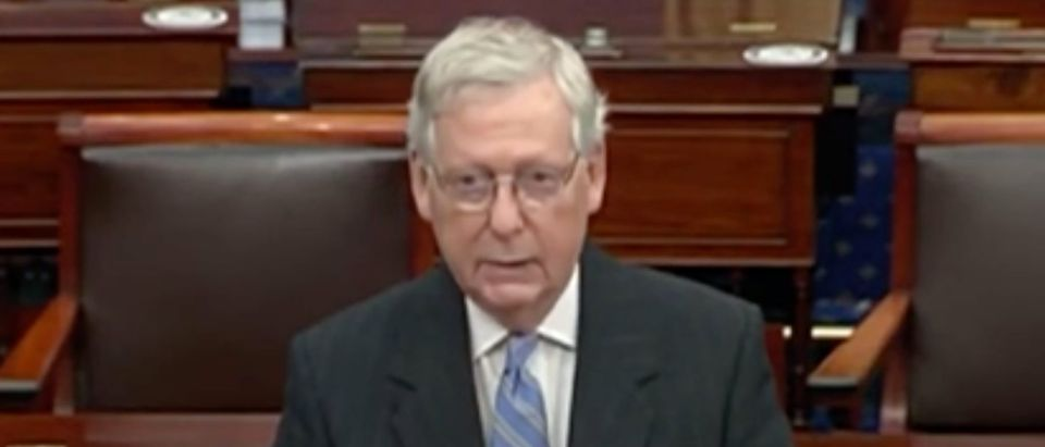 Mitch McConnell speaks on the Senate floor. Screenshot/C-Span Screen Shot 2020-06-25 at 1.30.48 PM