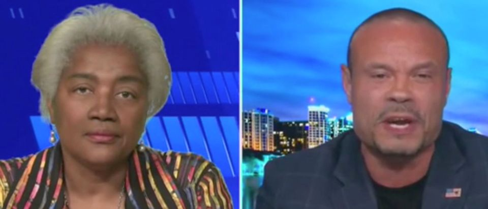 "Donna Brazile and Dan Bongino appear on ""The Five."" Screenshot/Fox News"
