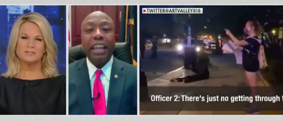 Tim Scott blasts woman for asking officer for proof of black wife (Fox News screengrab)