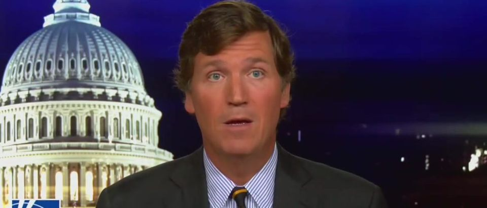 Tucker Carlson responds to the mob (Fox News screengrab)