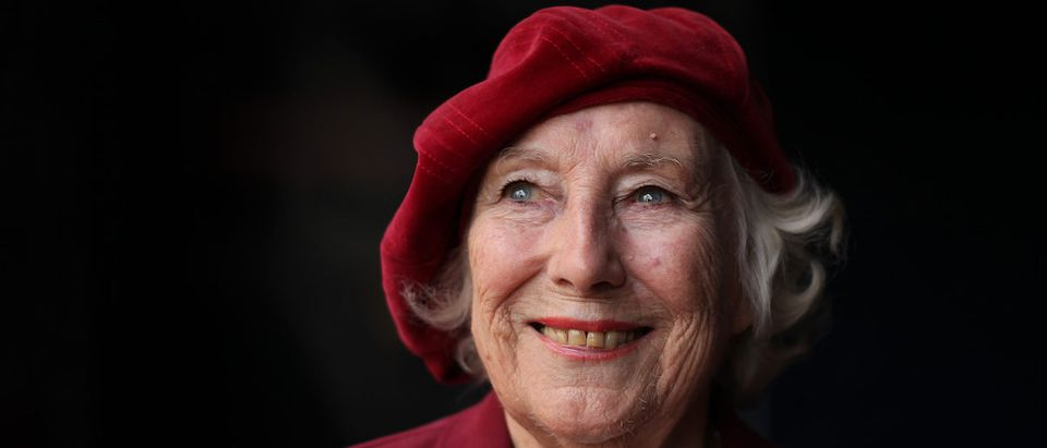 Forces sweetheart Dame Vera Lynn poses for photographs in central London, on October 22, 2009. Forces sweetheart Dame Vera Lynn on Thursday joined soprano singer Hayley Westenra for an emotional rendition of the classic wartime song We'll Meet Again to officially launch the Royal British Legion's poppy appeal. (Photo credit: SHAUN CURRY/AFP via Getty Images)