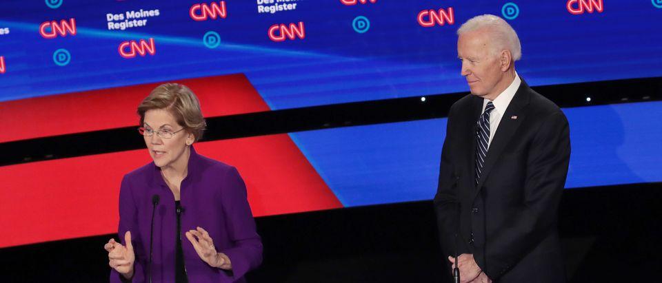 Elizabeth Warren and Joe Biden at the Democratic Debate in Des Moines, Iowa. (Scott Olson/Getty Images)