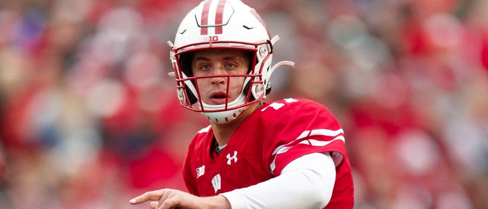 Oct 12, 2019; Madison, WI, USA; Wisconsin Badgers quarterback Jack Coan (17) looks to throw a pass during the second quarter against the Michigan State Spartans at Camp Randall Stadium. Mandatory Credit: Jeff Hanisch-USA TODAY Sports - via Reuters