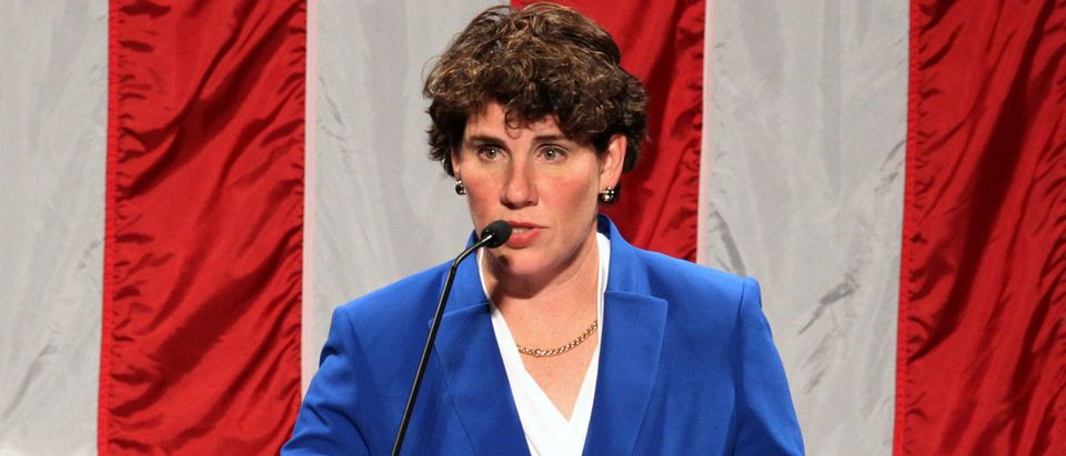 Democratic congressional candidate Amy McGrath thanks all her supporters after appearing at her election night party in Richmond, Kentucky, U.S. November 6, 2018. REUTERS/John Sommers II
